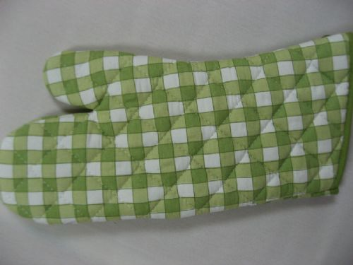 GREEN COLOUR CHECK QUILTED OVEN MITT GLOVE COTTON